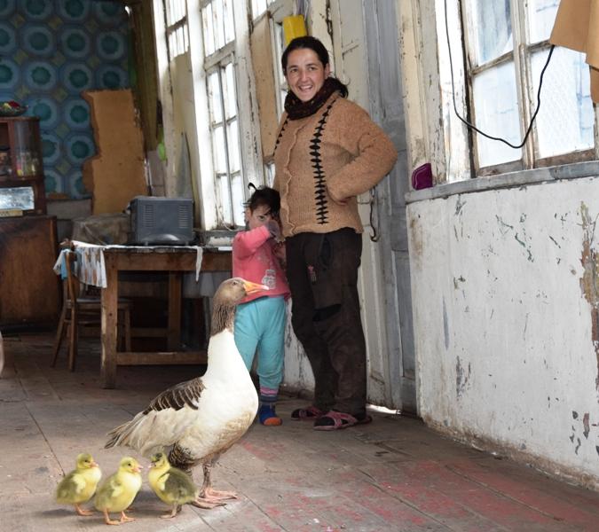 Eine Frau und ein kleines Kind stehen in einem heruntergekommenen Gebäude; im Vordergrund eine Gans mit Küken