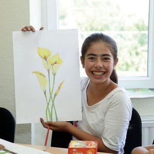 Mädchen mit Blumenbild
