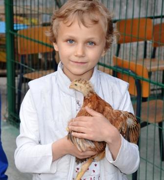 Ein kleines blondes Mädchen trägt ein Hund auf dem Arm