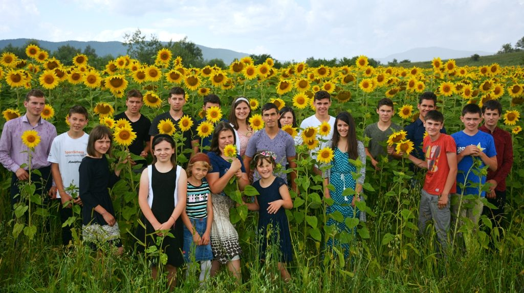 Kinder und Jugendliche stehen in einem Sonnenblumenfeld