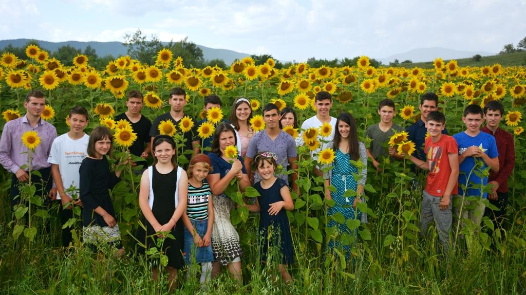 Kinder und Jugendliche in einem Sonnenblumenfeld